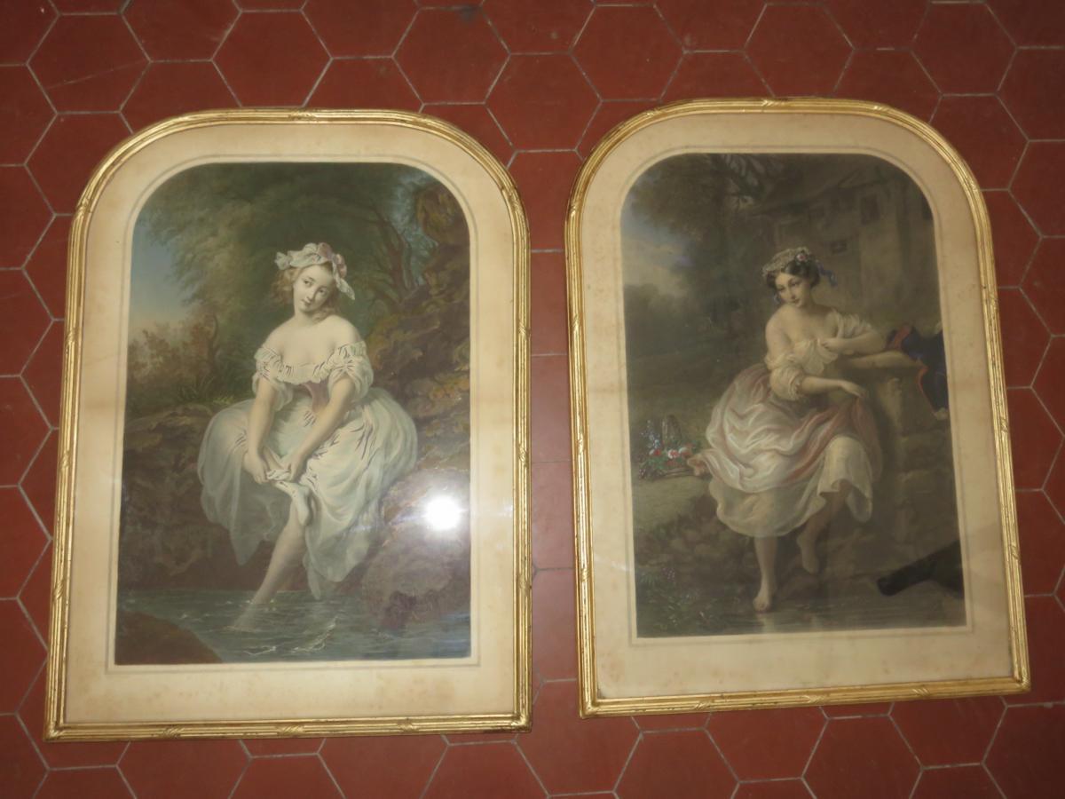 Jeunes Filles Au Bord d'Un Ruisseau, Gravures époque 19ème.