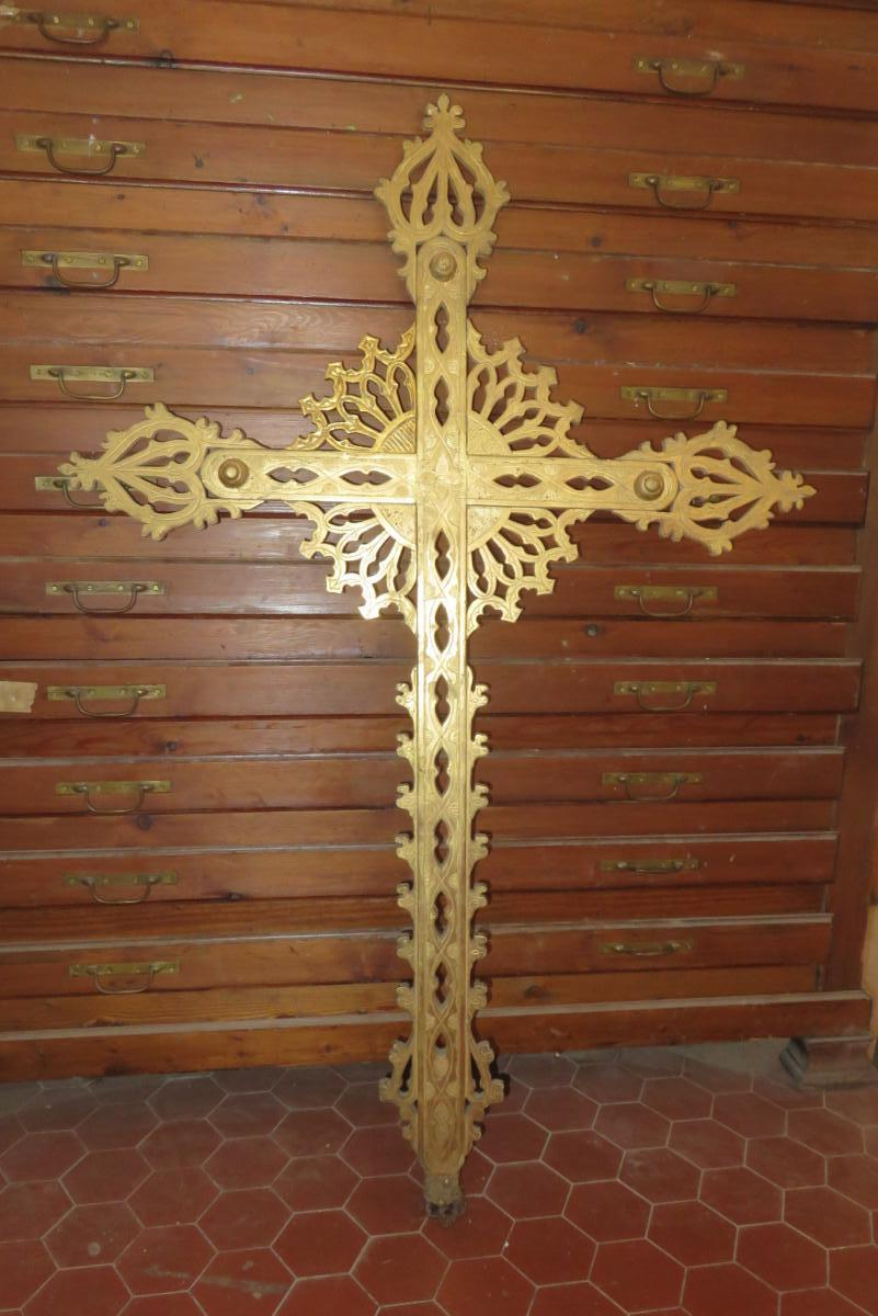 Processional Cross In Golden Wood, Early 19th Time.
