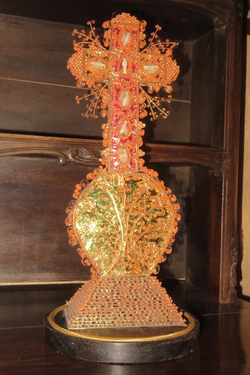 Croix Reliquaire Avec Paperolles, époque 19ème.