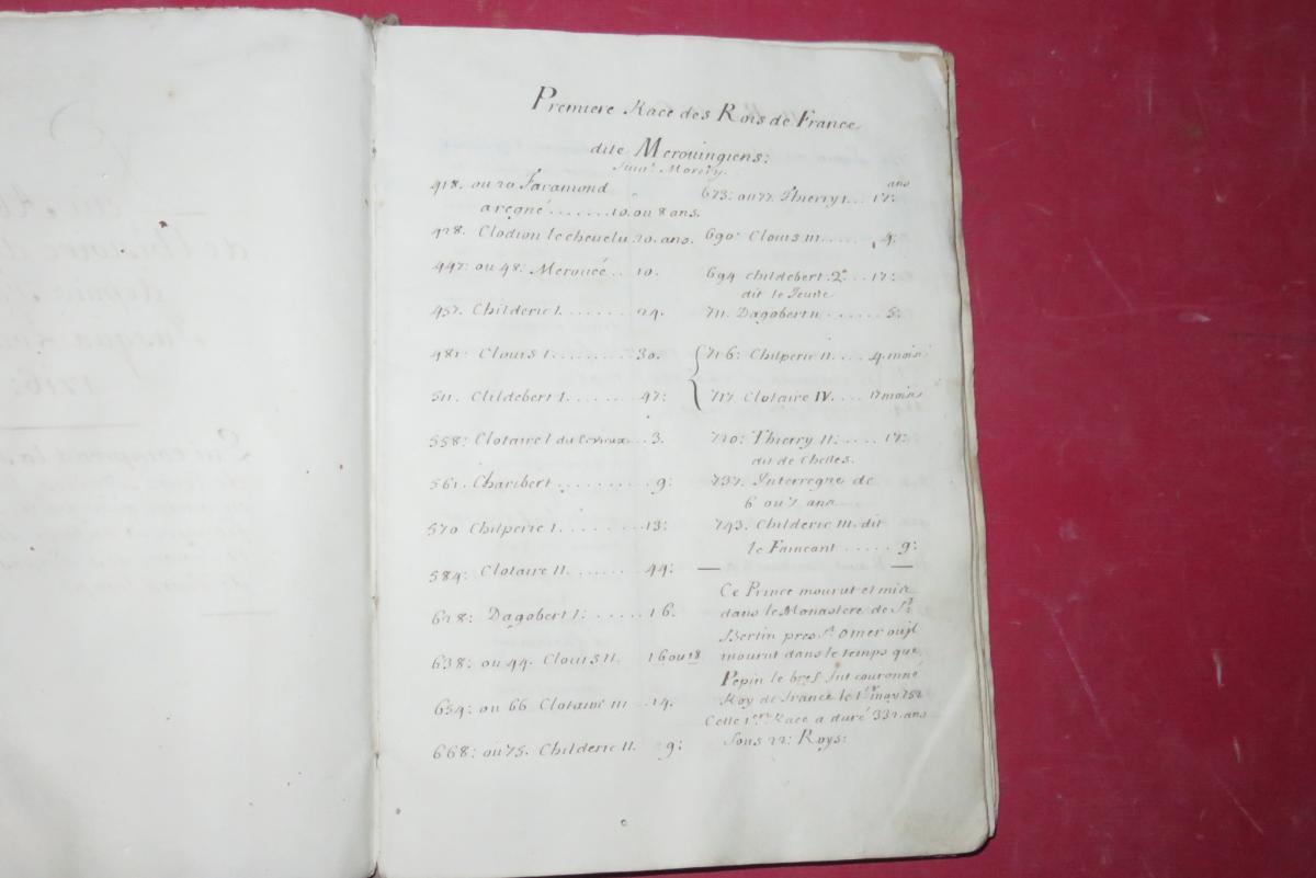""""""" Petit Abrégé De l'Histoire De France """", Manuscrit Daté De 1716.-photo-3"""
