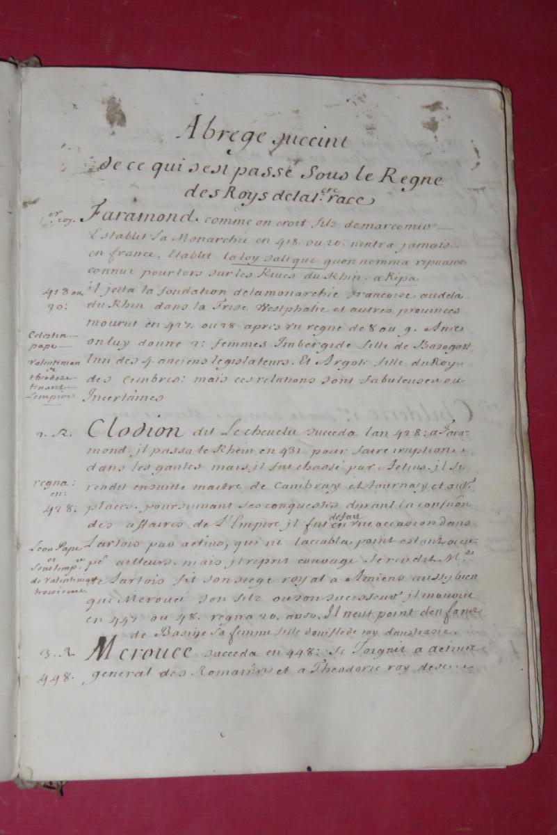 """"""" Petit Abrégé De l'Histoire De France """", Manuscrit Daté De 1716.-photo-1"""