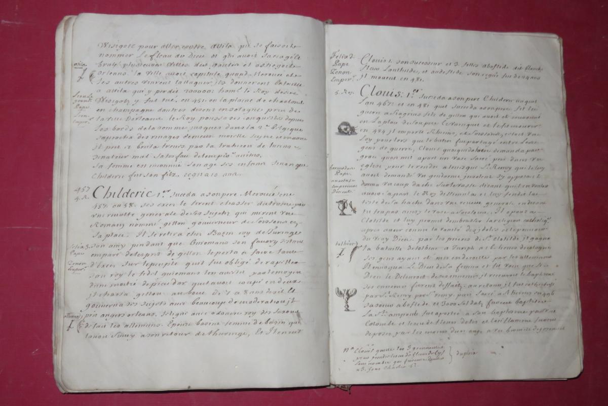 """"""" Petit Abrégé De l'Histoire De France """", Manuscrit Daté De 1716.-photo-2"""