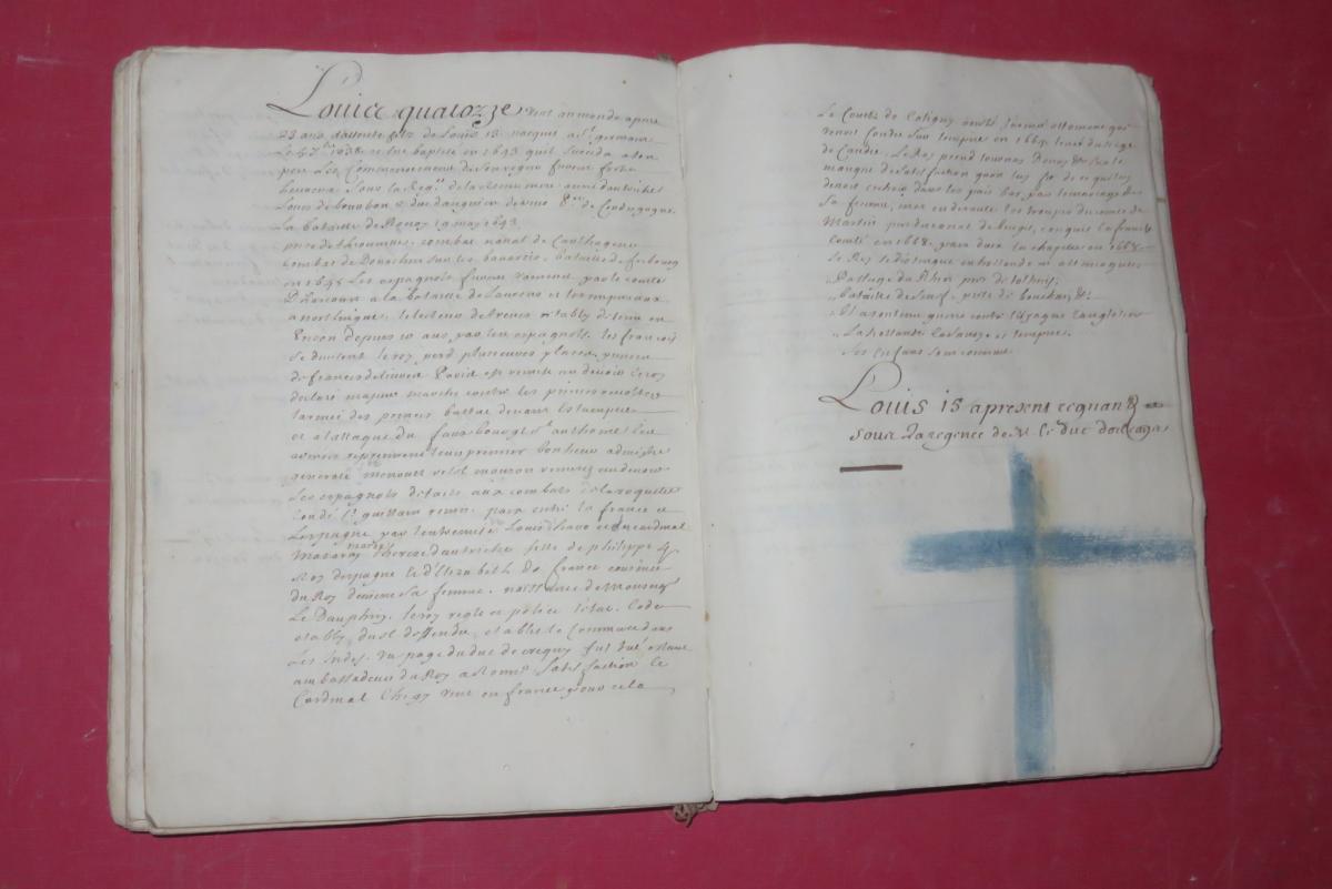 """"""" Petit Abrégé De l'Histoire De France """", Manuscrit Daté De 1716.-photo-6"""