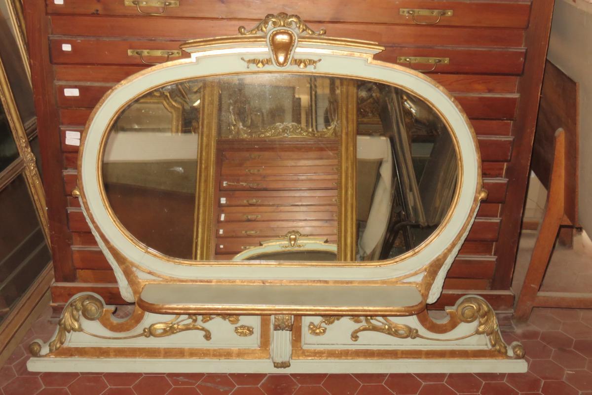 Miroir Ovale, Italien, En Bois Peint Et Doré, époque 19ème.