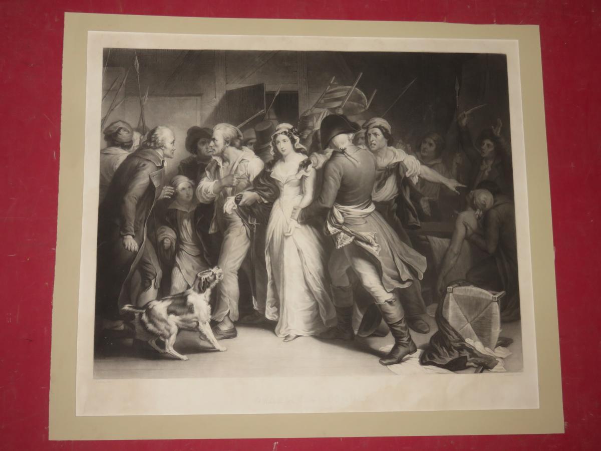 Arrestation De Charlotte Corday, Gravure époque 19ème.