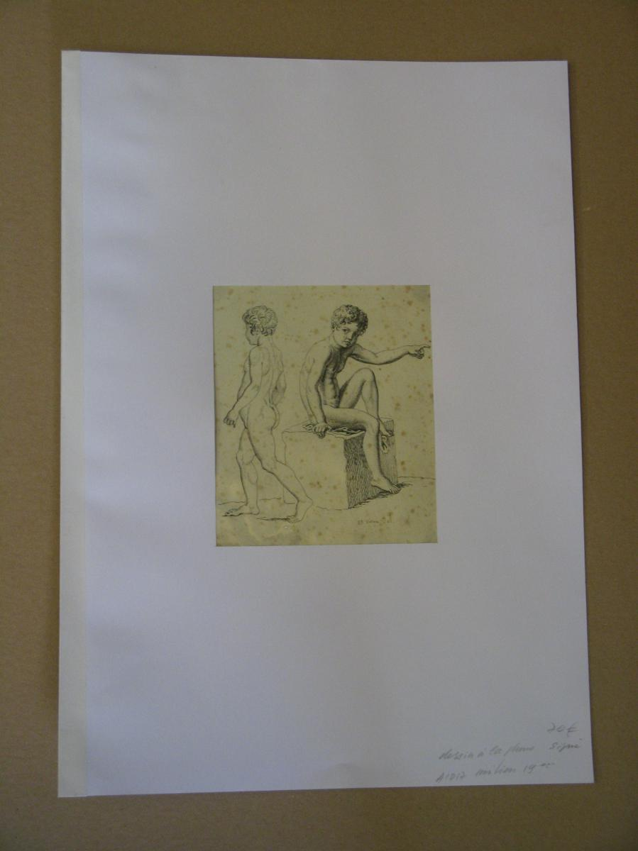 Dessin à La Plume, enfant, Signé, époque 19ème.