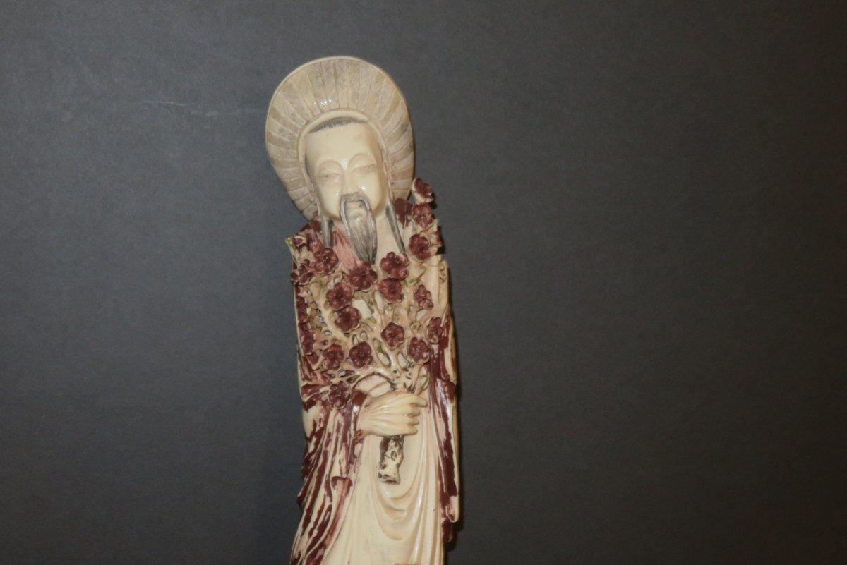Statuette d' Immortel  en Ivoire, époque 20ème.-photo-2
