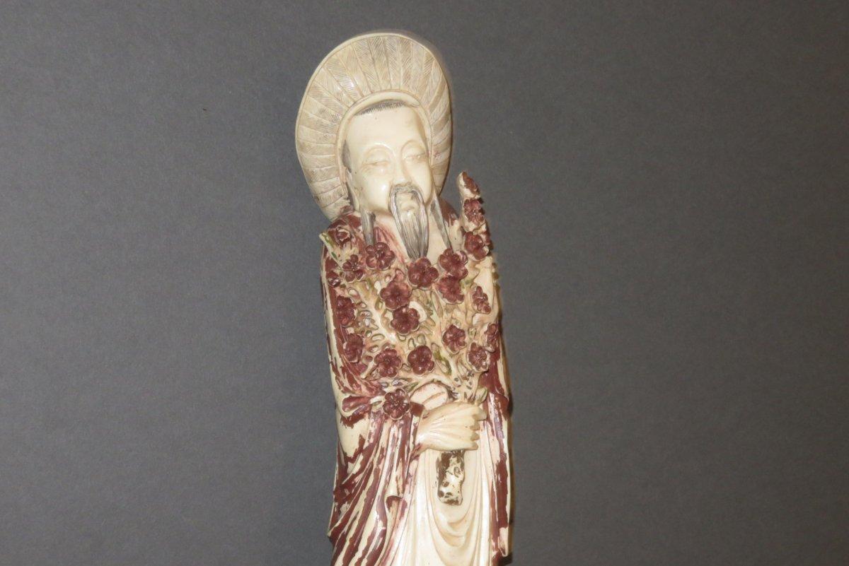 Statuette d' Immortel  en Ivoire, époque 20ème.-photo-3