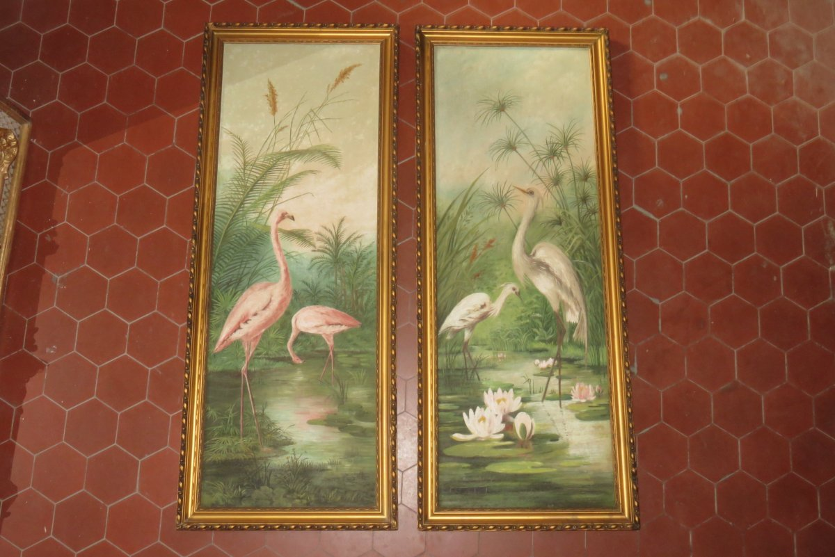 Pair Of Egrets And Pink Flamingos, Paintings Of The 1920s.