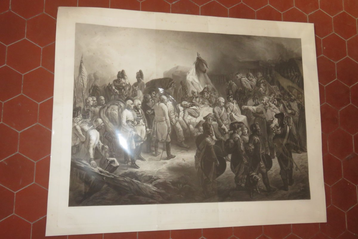 """"""" Funérailles de Marceau """", eau-forte époque 19ème."""