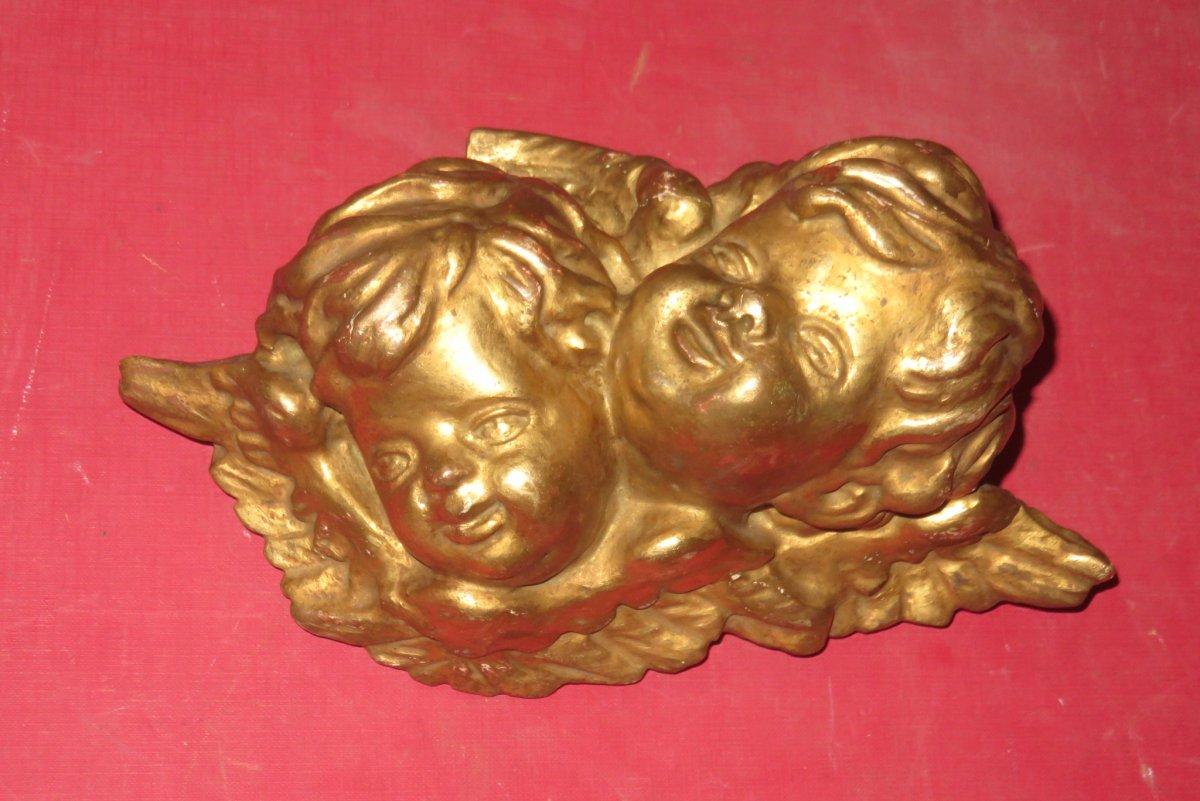 Couple d'Anges, Bois Doré, époque 19ème.