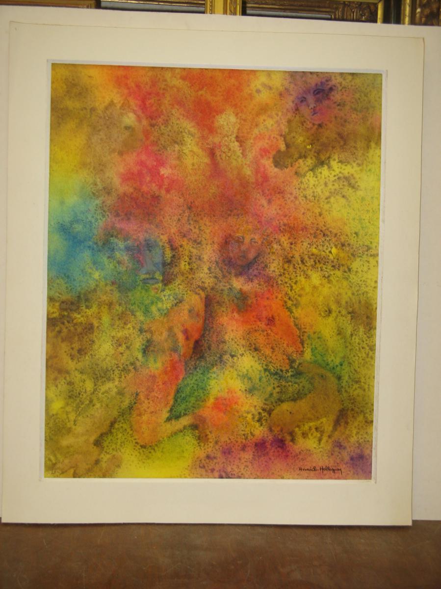 Fantastic Interpretation Of A Dream, Watercolor, 20th.