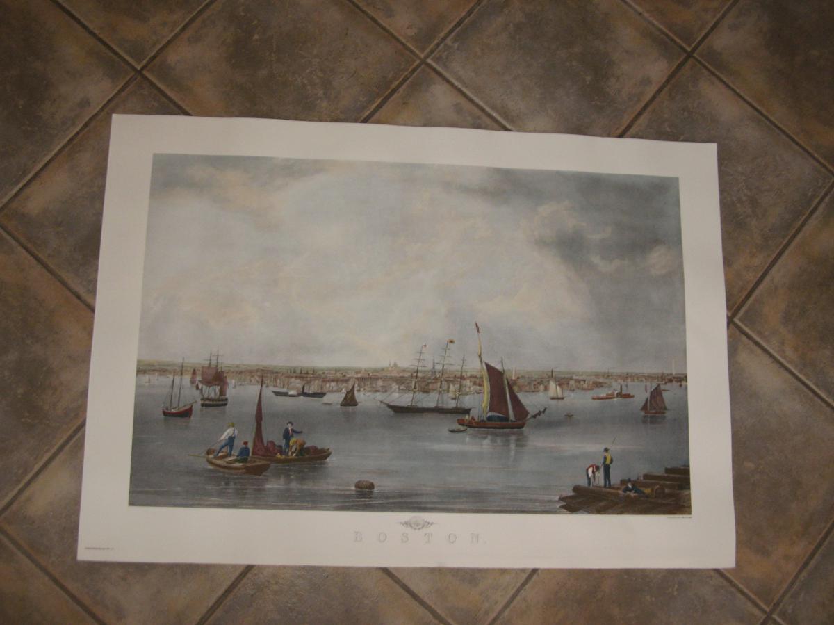 Boston Harbor, English Engraving 20th Time.