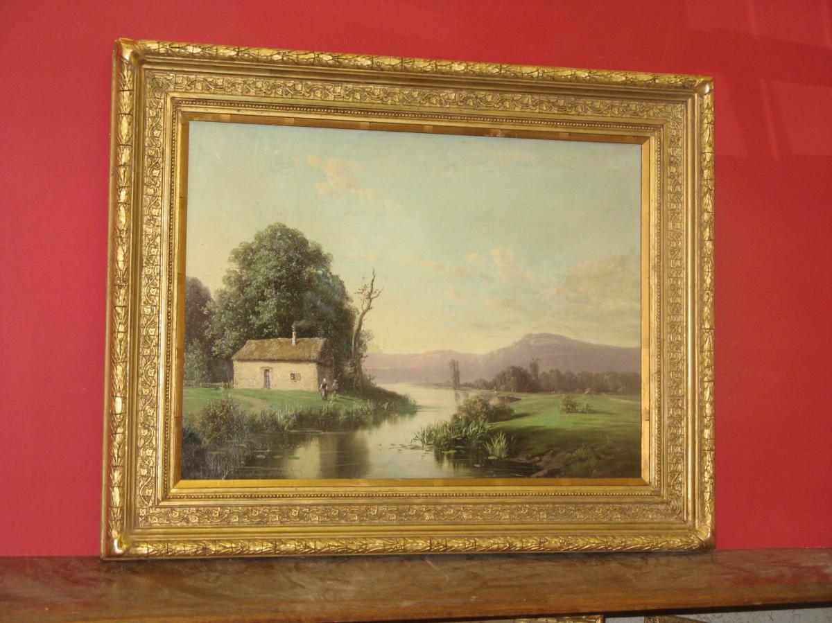 Paysage, Peinture époque 19ème,  Signée A. Godchaux.