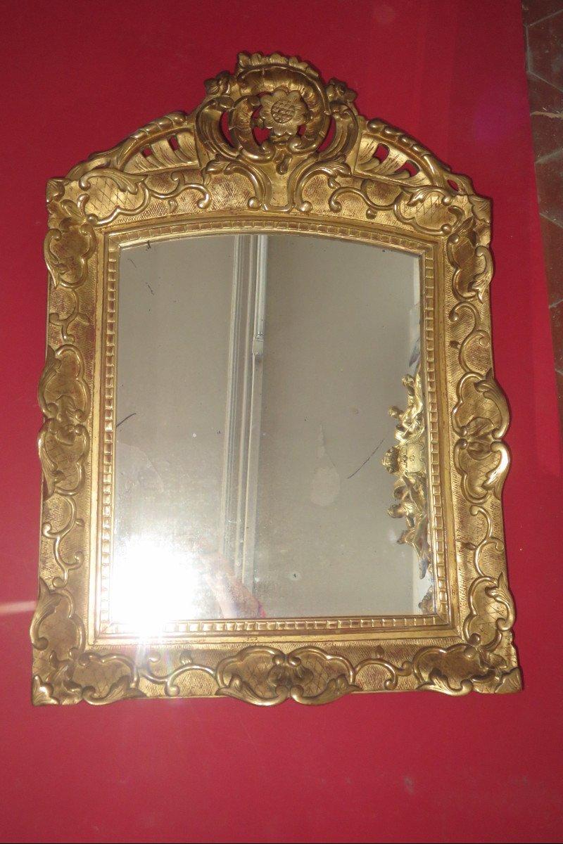 Miroir époque 17ème, Louis XIV, En Bois Doré.