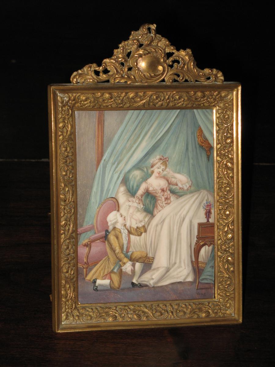 Scène Galante, Miniature peinte à la main, époque 19ème.