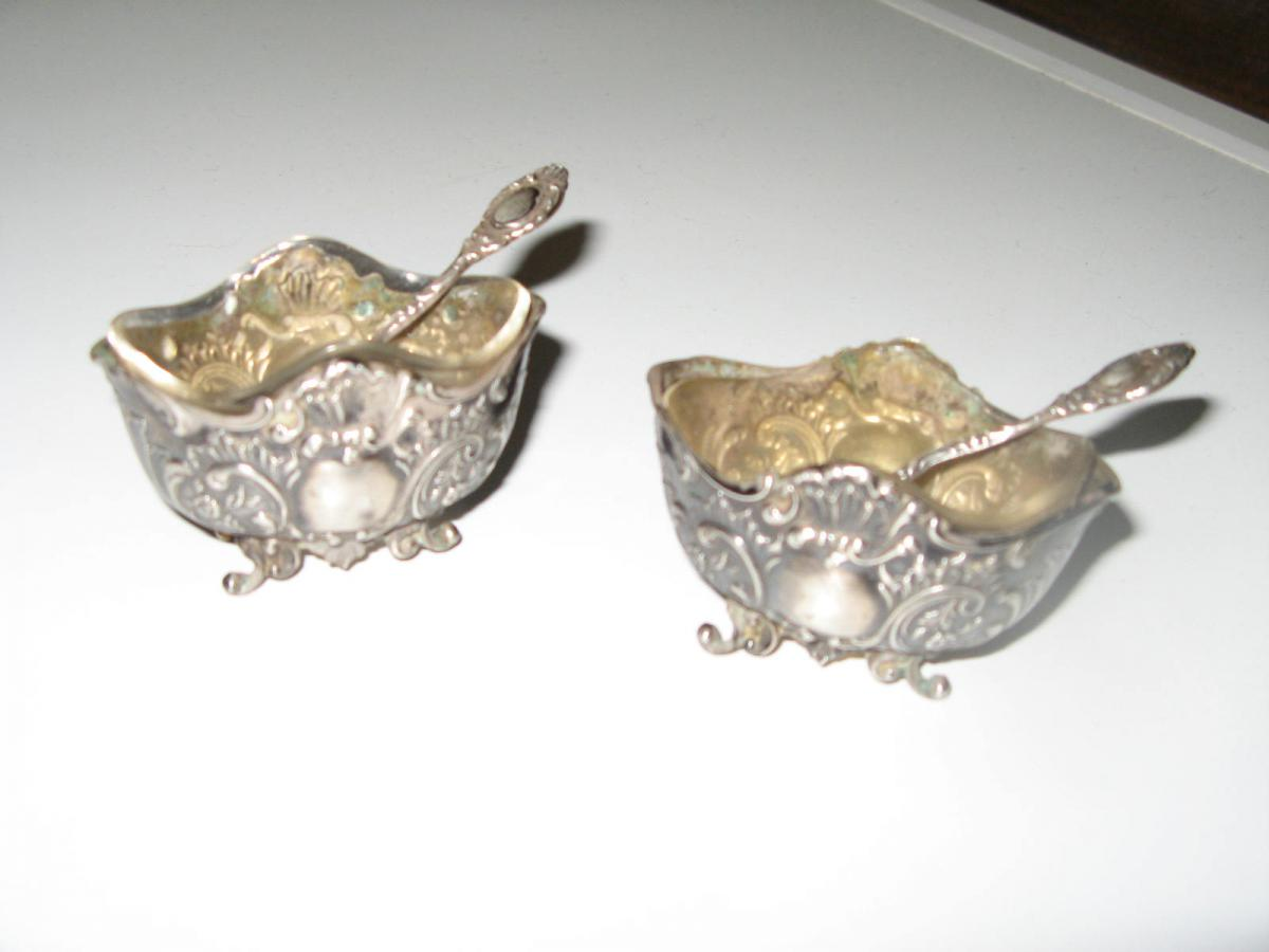 Pair Of Early 19th Salt, Silver Spoon.
