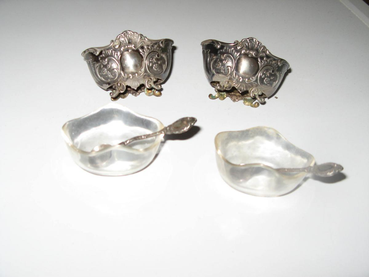 Pair Of Early 19th Salt, Silver Spoon.-photo-4