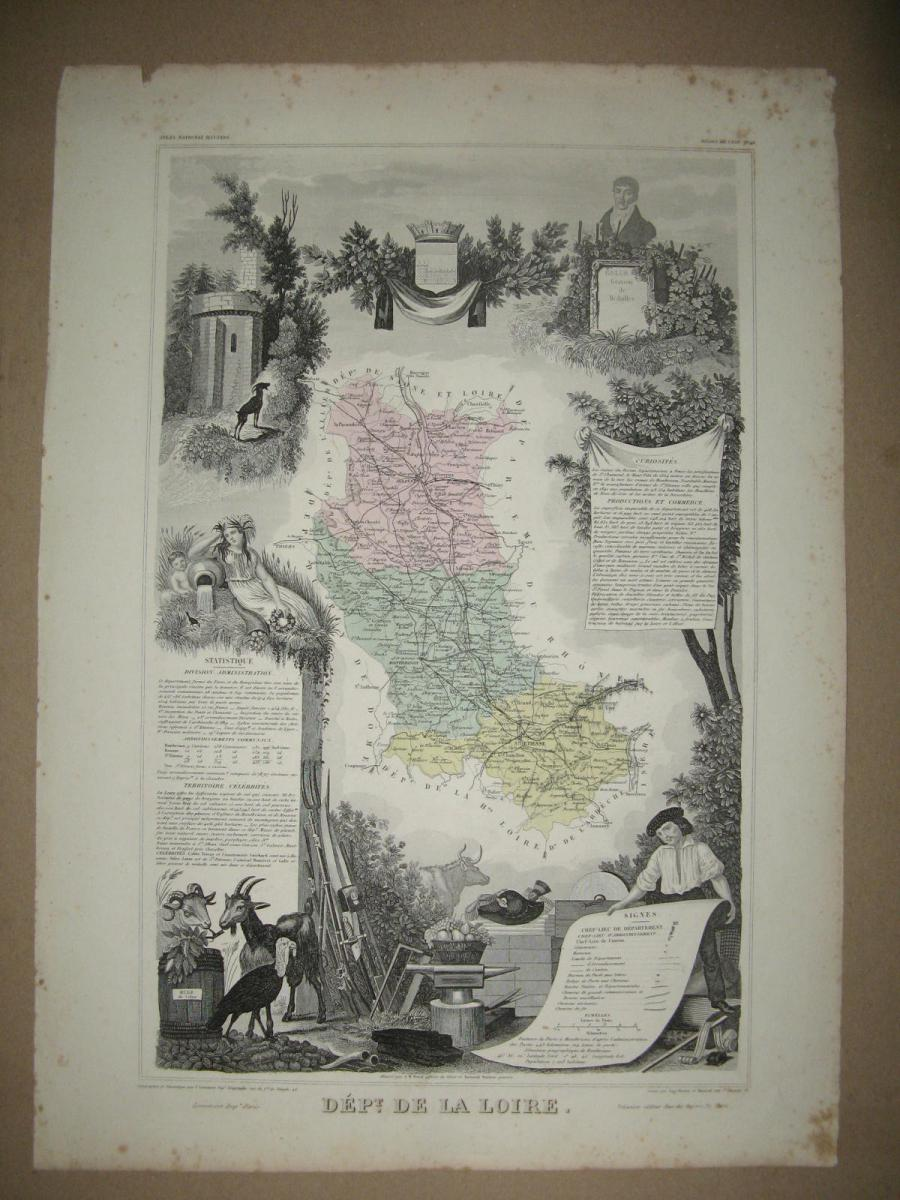 Map Levasseur, 19th Department Of The Loire.