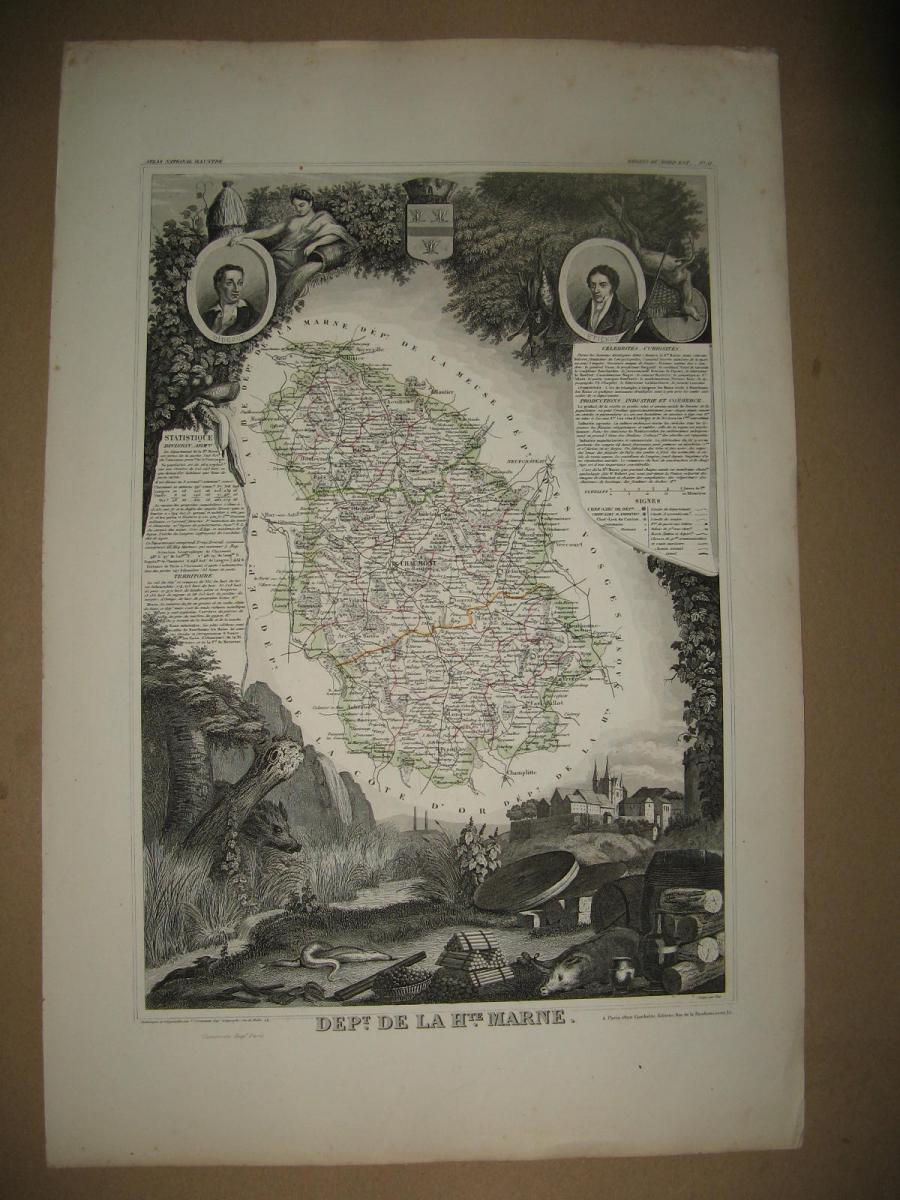 Carte Levasseur, 19ème, Département De La Marne.