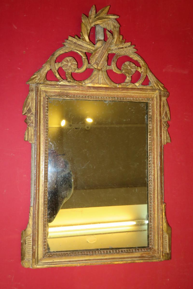 Miroir à Fronton, époque 18ème, Louis XVI, En Bois Doré.