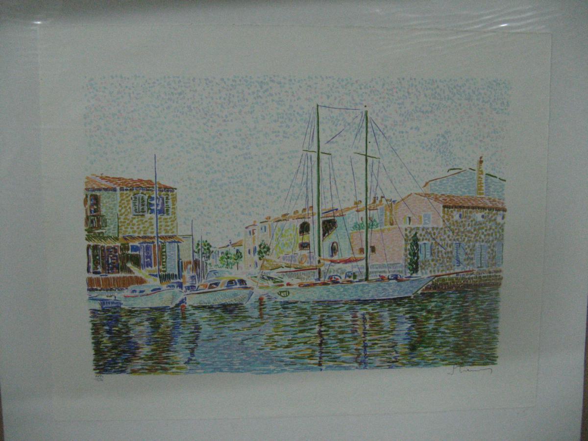 Marine : Port Grimaud, Lithographie Originale, Signée, Numérotée.