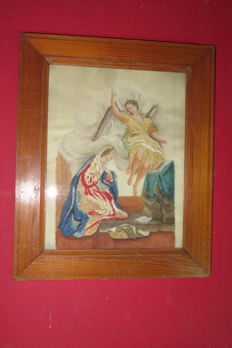 La Vierge Avec Un Ange, Broderie Et Aquarelle, époque 19ème.