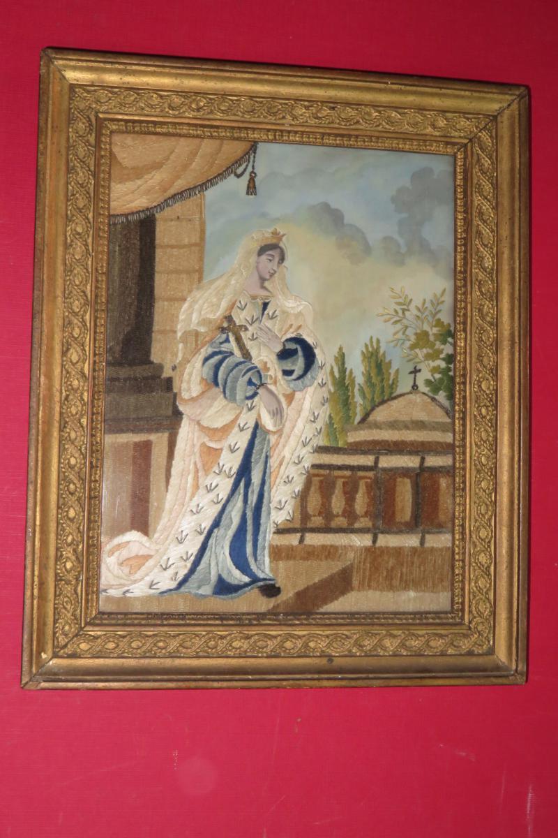 Jeune Femme Avec Une Croix, Broderie Et Aquarelle époque 19ème.