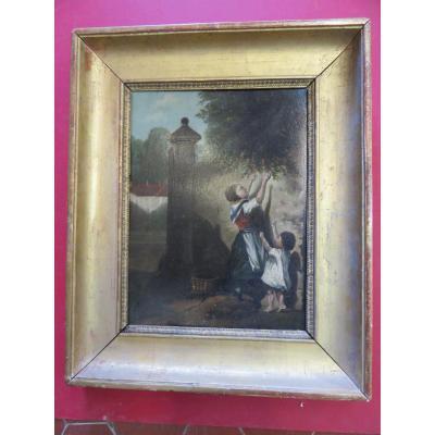 Peinture, Deux Enfants Cueillant Des Cerises, époque 19ème.