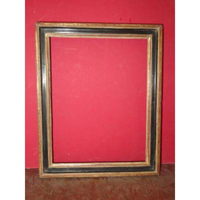 Frame 18th Century, Louis XVI, Wooden Black And Gold.
