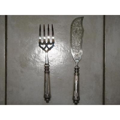 Fish Knife With Fork In Silver, 19th.