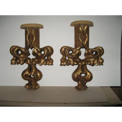Pair Carved Wooden Wall Golden 19th.