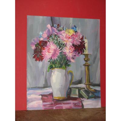 Peinture, Bouquet De Fleurs, 20ème.