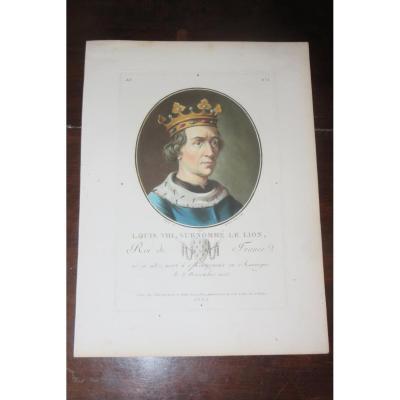 Portrait de Louis VIII, eau forte époque 18ème.