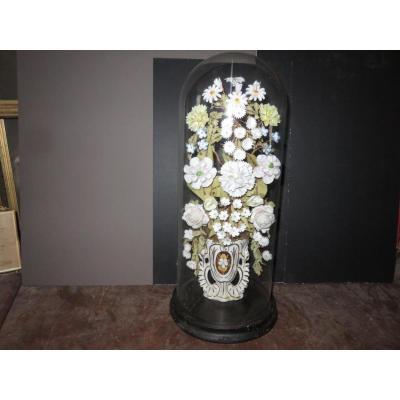 Globe De Mariée Avec Fleurs Et Vase En Porcelaine, époque 19ème.