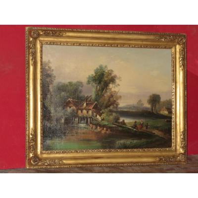 Moulin, Avec Personnages, Peinture époque 19ème.