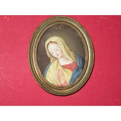 Vierge En Prière, Miniature peinte à la main,  Datée 1824.
