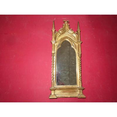 Miroir De Forme Cathédrale, En Bois Doré, époque 19ème.