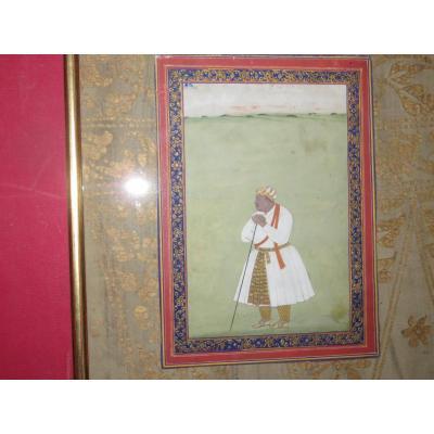 Roi Hindou : Akbar, Aquarelle époque 18-19ème.