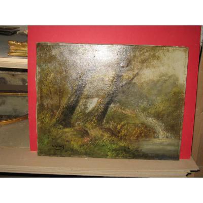 Peinture, Un Sous-bois Avec Chute d'Eau, milieu 20ème.