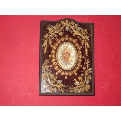 Cadre Reliquaire Avec Reliques Autour d'Un Coeur, époque 19èm
