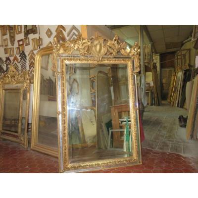 Miroir à Parcloses  En Bois Doré, époque 19ème.