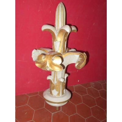Decor Fleur De Lys Carved 19th Time.
