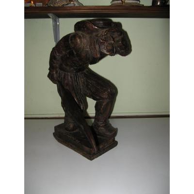 """Statue, Bois Sculpté : """"chouan Au Guet"""", Fin 19ème."""