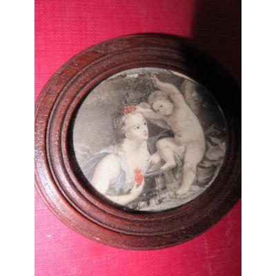 Jeune Femme Avec Son Enfant, Miniature, époque 18ème.