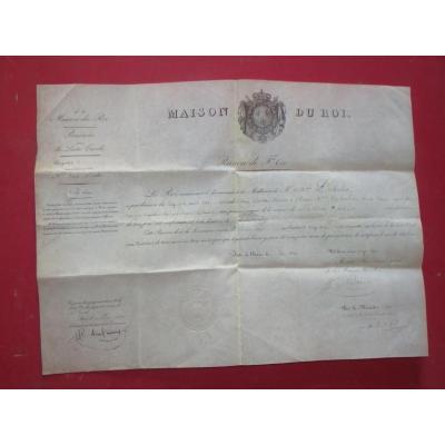 Pension De La Maison Du Roi, Datée De 1828.