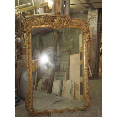 Très Grand Miroir (2,25 M), époque 19ème, En Bois Doré.
