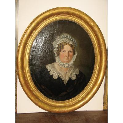 Peinture 19ème, Portrait De Femme Avec Son Cadre Ovale.