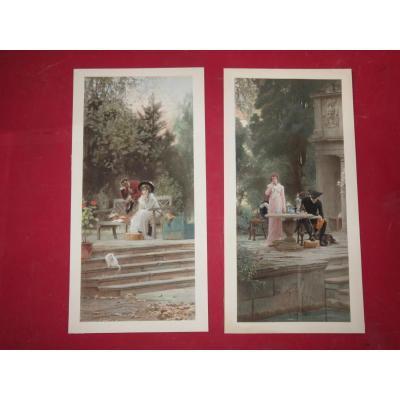 Scène Romantique, Paire De Gravures époque 19ème.