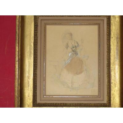 """"""" L'élégante à l'Ombrelle """", Aquarelle Signée, époque 19ème."""